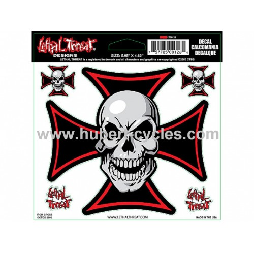 STICK LETHAL THREAT SKULL N CROSS 15X14