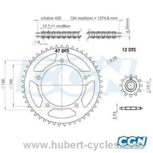 KIT CHAINE AFAM RS50 99- 02 12X47 420