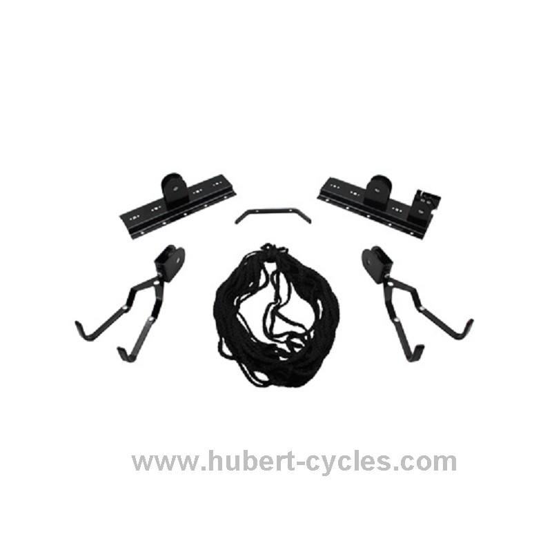 Achat support velo mural fixation plafond hubert cycles - Porte velo plafond systeme fixation poulie ...