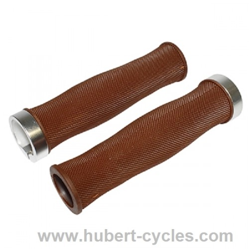 POIGNEES CITY GRIP DIAMANTS MARRON 130MM