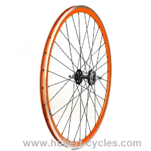 ROUE ARRIERE FIXIE ORANGE VELOX 30MM