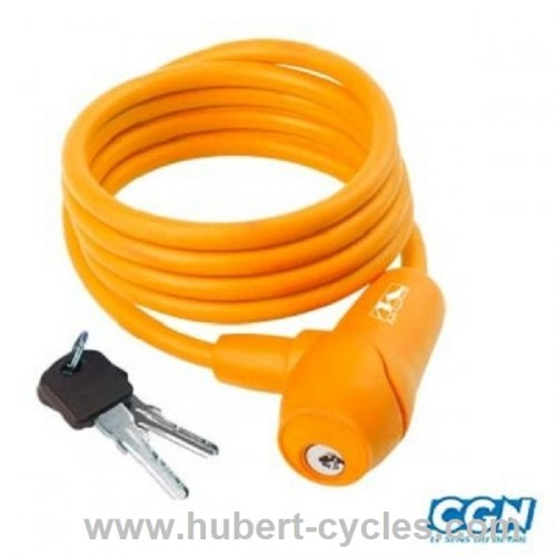 ANTIVOL VELO SPIRAL A CLE D8X1M5 ORANGE